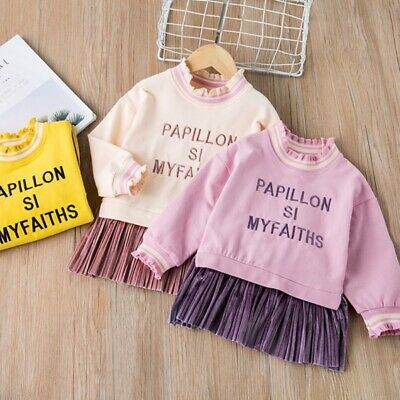Kids Girls Sweater Dress Long Sleeve Cotton Letter Embroidery Stitching Loose