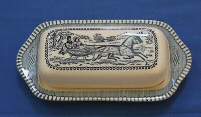 "CURRIER & IVES Royal China ""The Road"" Winter Sleigh Horses Covered Butter Dish"