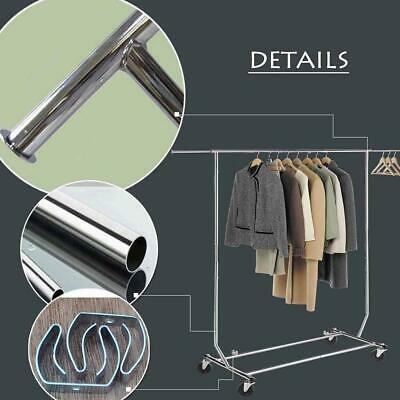 "60"" Commercial Chrome Single Rail Clothing Garment Rolling Rack Hanger Cart"