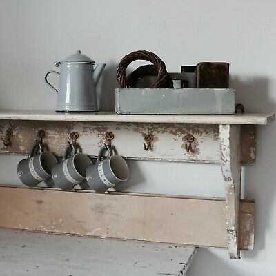 Late 19th century French kitchen (or hallway) wall shelf with hooks