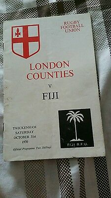 London Counties v Fiji 31 October 1970 Twickenham Official Rugby Union Programme