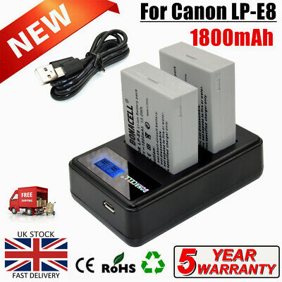 2× LP-E8 Battery+LCD Dual Charger For Canon LPE8 EOS Kiss X4 550D 600D 650D 700D