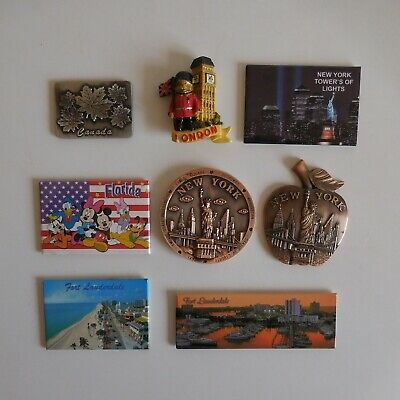 8 magnets aimants FLORIDE NEW YORK USA LONDON Angleterre CANADA N4722