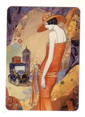 Art Deco Lady and a Vintage Car - Modern  Wide Linen Swap Playing Card