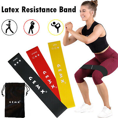 Resistance Exercise Band Home Fitness Gym Set of 3 Latex Loop Bands Booty Glutes