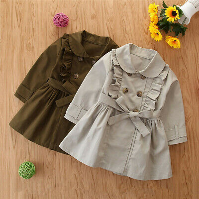 Toddler Kids Baby Girls Long Sleeve Trench Coat Windbreaker Jacket Outwear F4
