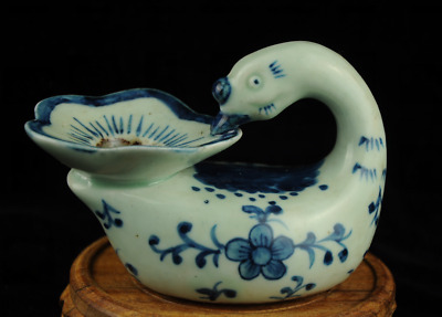 china old Blue white porcelain handmade swan statue porcelain brush washer Ab01J