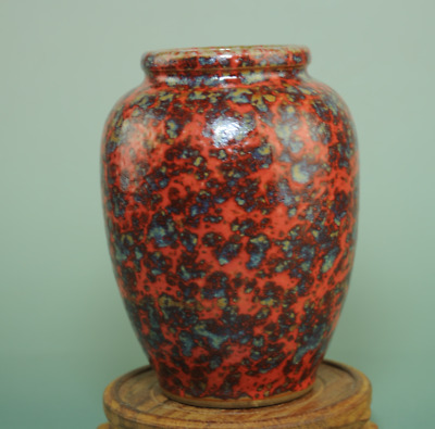 china old Red glaze fambe porcelain hand-made antique vase Cb02J