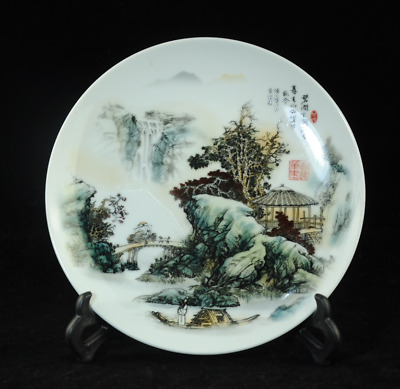 china famille-rose porcelain hand painted landscape painting antique dish Cb01J
