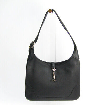 Hermes Trim 31 Taurillon Clemence Leather Shoulder Bag Black BF506172