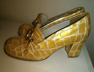 women's shoes by luichiny vintage mustard faux snake  with gold buckles size 7