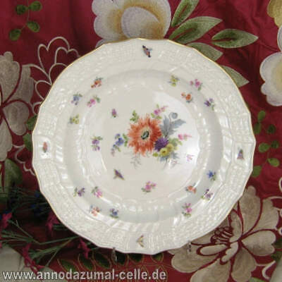 Porcelain Meissen Plate Floral Decoration Gold Plated