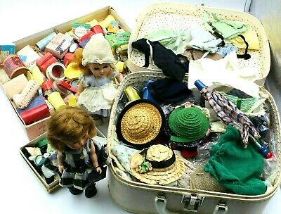 Vintage Large Lot Of Vogue Doll Ginny & Ginger Trunk Lots Of Accessories- #6984