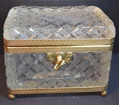 Large French Glass Cut Crystal and Brass Mounted Box