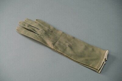 Original Vintage Green/Olive Leather Gloves Circa 1940's/1950's 6 1/2