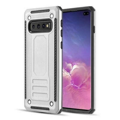 For Samsung Galaxy S10 Plus Silver Hard TPU Hybrid Shock Absorbing Case Cover