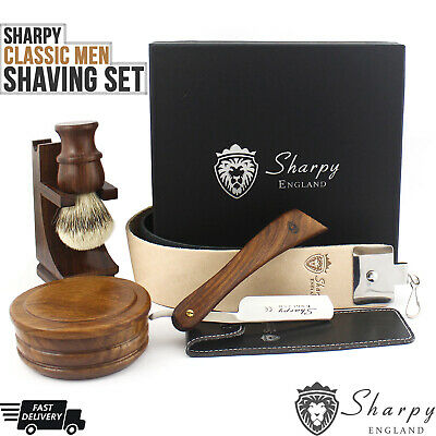 Vintage Barber Salon Straight Cut Throat Shaving Razor Luxury Gift Set For Him