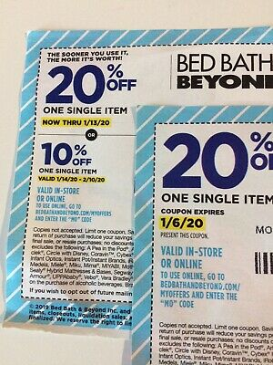 Two Bed Bath Beyond 20% off one single item Exp 1/6/2020