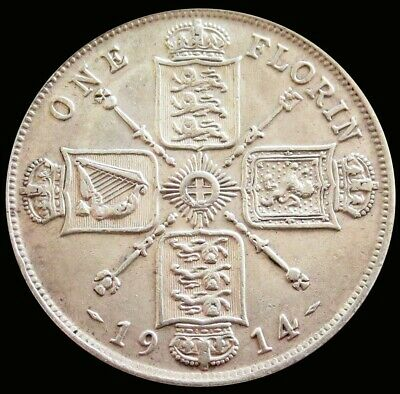 1914 Silver Great Britain 1 Florin King George V Coin