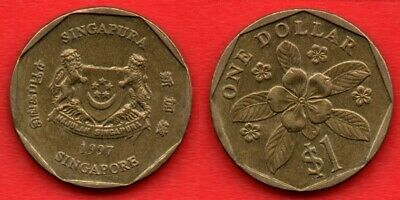 Singapore 1997 one dollar coin