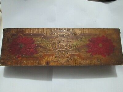 art nouveau Antique 1900's Wood Ties Box Hinged Lid Burnt Pyrography Folk stash