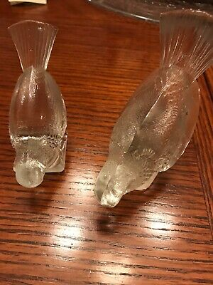 Vintage Clear Crystal Pair of Bird Glass Figurines
