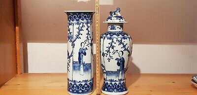 18th/19th Century FINE Chinese BLUE & WHITE Porcelain VASE PAIR Women BIRDS RARE