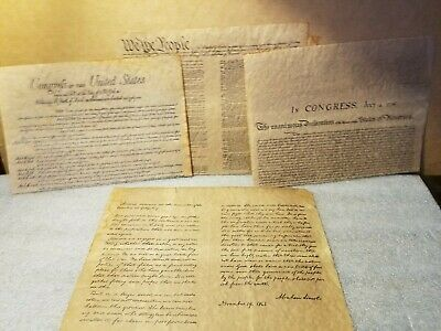 Vintage 4 Documents Of Freedom on Parchment Paper constitution, declaration etc.