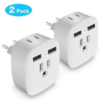 European Plug Adapter, Upgraded 4 in 1 US to Europe Travel Plug Adapter w... New