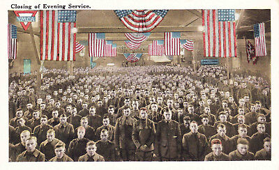 Closing of Evening Service at the YMCA, Soldiers Flags Vintage Postcard F18