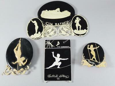 """""""THE BANVARDS"""" Antique Celluloid Plaques -Trapeze, Circus (The Flying Banvards?)"""
