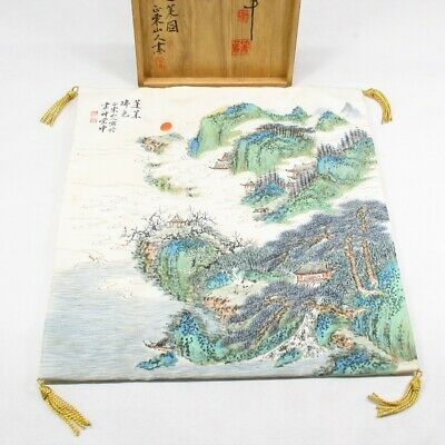 E752: Japanese silk sheet for JUBAKO with good painting by two famous painters
