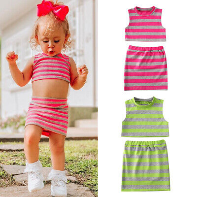 2PCS Kids Baby Girl Outfit Set Striped Vest Crop Tops+Skirt Dress Clothes Summer