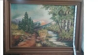 Vintage 1940s Oil Painting canvas Signed American art Exhibition World War 2 Era