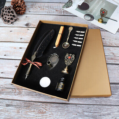 Feather Writing Calligraphy Dip Quill Pen Set Stationery Gift Box w/ 13 Nibs