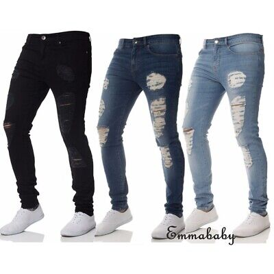 Mens Ripped Slim Skinny Jeans Stretch Boys Denim Distress Frayed Biker Jeans