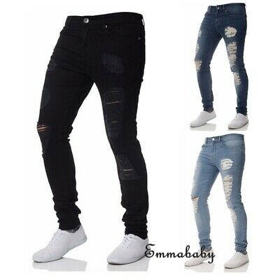 Men's Ripped Skinny Jeans Stretch Frayed Biker Slim Fit Denim Pants Trousers US