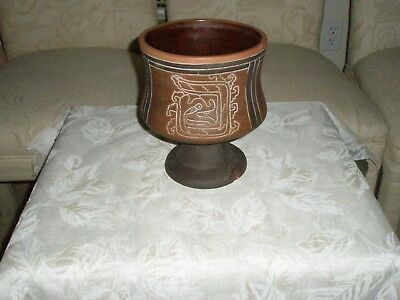 Vintage Mayan Red Clay Black Trim White Inscribed 3 Panel Dragon Footed Bowl