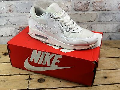 Mens Nike Air Max 90 White Leather Mesh Sport Retro Gym Trainers Size 7 Rrp £100