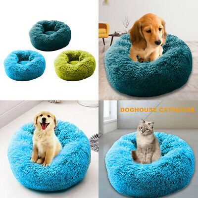 Pet Dog Cat Calming Bed Winter Warm Plush Round Nest Comfy Sleeping Kennel Cave