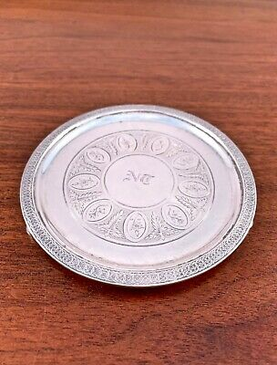 Rare Early Tiffany & Co Sterling Silver Miniature Salver: 550 Broadway 1854-69