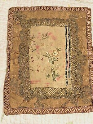 Antique French Silk 18th 19th Century Textile hand stitched