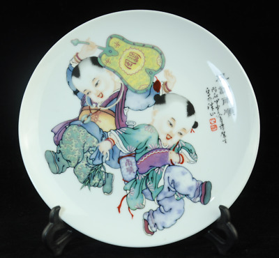 china old famille-rose porcelain hand painted child dish /qianlong mark Cb01J