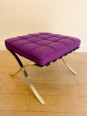 Retro vintage 80s chrome & purple barcelona foot stool/ottoman replica