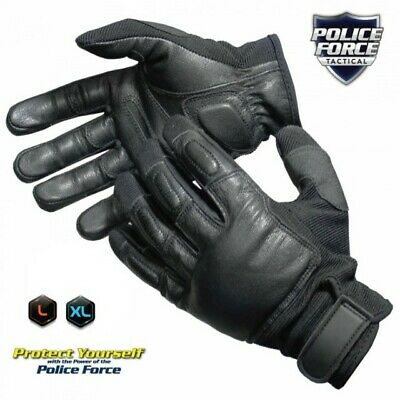 Police Force Leather Tactical SAP Gloves, Self-Defense Bikers LG OR XL
