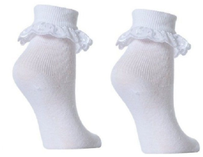 3 and 6 Pairs Girls  Cotton School Socks for Kids, Frilly Lace Ankle Multi