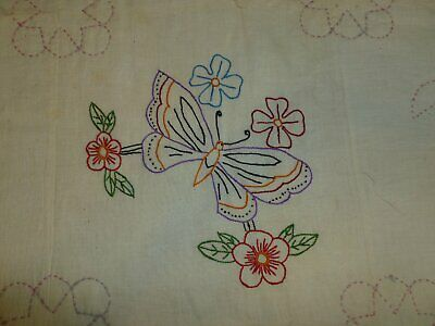 Antique Butterfly & Tulip Flower Basket  Quilt Hand Embroidery~Hand Quilted