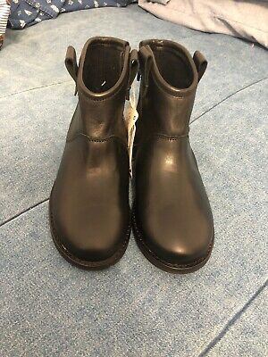 Zara Kids Girls Leather Ankle Boots With Side Zipper Black Size 11 EU 28 NWT