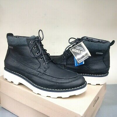 Clarks GORE-TEX Korik Rise Black Leather Waterproof Lace Up GTX Hiking Boots