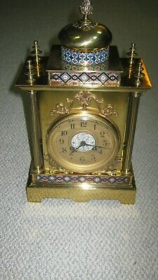 Antique French Brass and Cloisonne Mantle Clock-S.Marti
